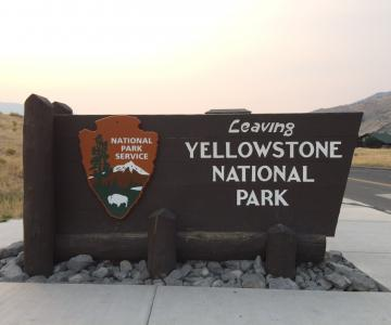 Welcome Sign at Yellowstone National Park at North Entrance